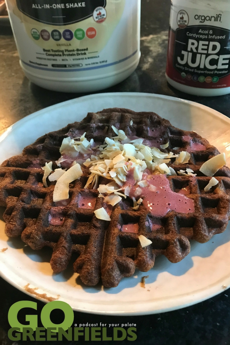 Organifi High Protein Vanilla Waffles with Red Juice Topping @GoGreenfields